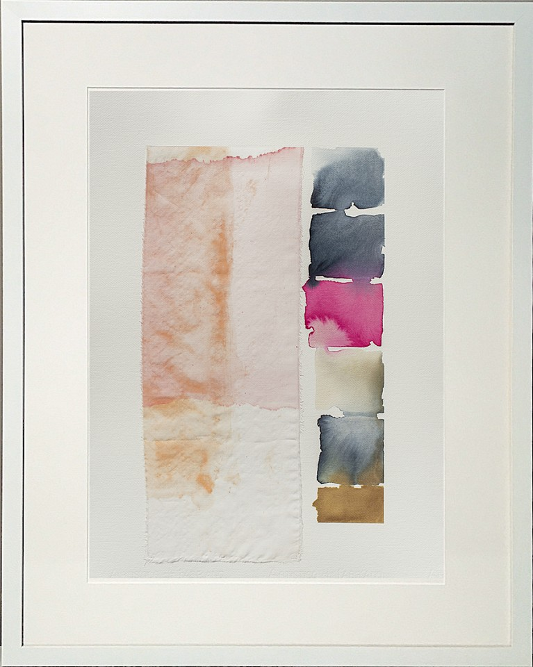Carrie McGee, Pink Veil Watercolor on silk and paper, framed