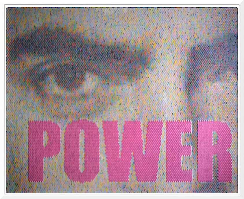 Peter Combe, Power (Tyrone Power) Mixed media with hand-punched paint swatches